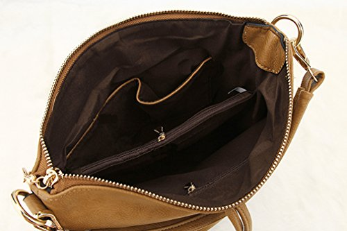 Zipper Shoulder Hobo Hoxis Bucket Handbag Brown Slouch Chic Leather Tassel Faux Womens 6pYgq