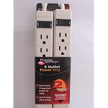 """Amazon.com: POWER SENTRY 6 OUTLET POWER STRIP """"2 PACK"""