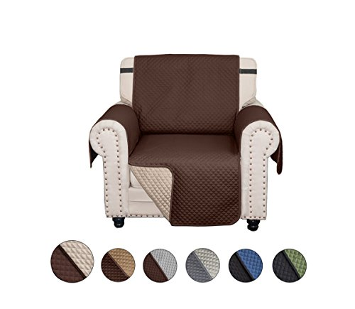 CALA Chair Sofa Slipcovers, Reversible Couch Slipcover Furniture Protector,Cover Perfect for Pets and Kids,Machine Washable(Chair:Chocolate/Beige) by CALA LIFE