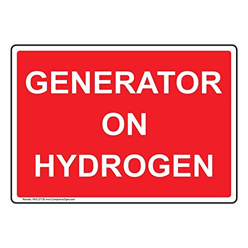 Generator On Hydrogen Label Decal, 5x3.5 in. 4-Pack Vinyl for Electrical by ComplianceSigns