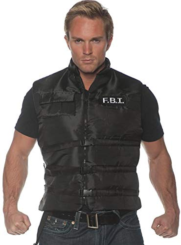 Underwraps Men's FBI Costume Vest, Black, One Size -