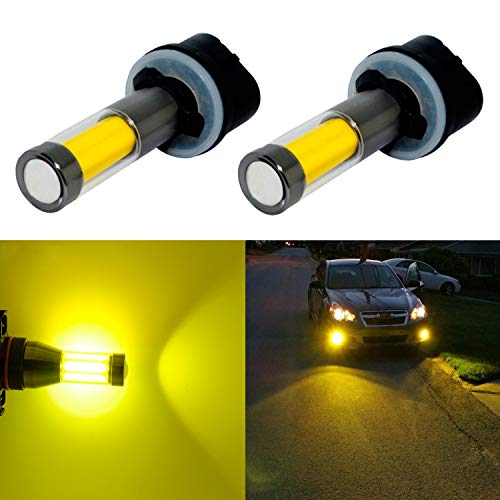 Alla Lighting Xtreme Super Bright LED 899 880 Fog Light Bulbs - High Power COB Universal 892 880 LED Bulb 880 LED Fog Lights Bulbs Lamp Replacement - 3000K Amber Yellow