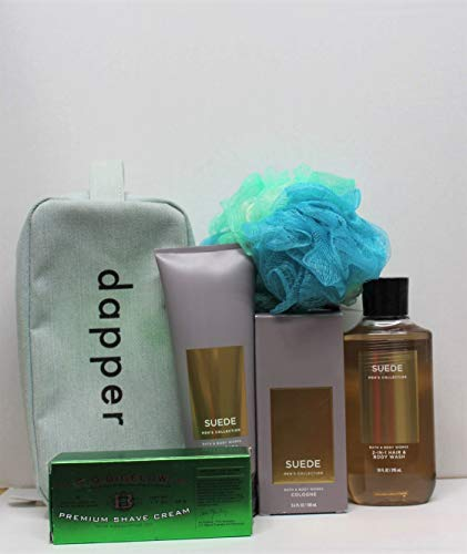 Bath and Body works Suede Men's 6 pc Gift Bundle Cologne Spray, Body Cream, 2-in-1 Hair + Body Wash, Shave Cream, Bag & Shower Sponge by Bath & Body Works