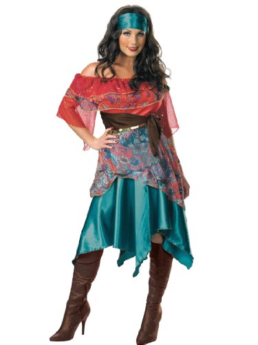 Costume Eastern Girl Middle (Peasant Woman Costume Bohemian French Gypsy Dress Womens Theatrical Costume Sizes:)