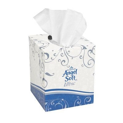- Angel Soft Ps Ultra Premium Facial Tissue with Cube Box in White