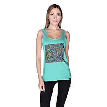 Creo Abstract 02 Retro Tank Top For Women - L, Green