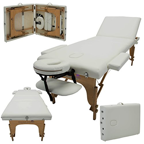 Massage Imperial® Deluxe Lightweight Ivory White 3-Section Portable Massage Table Couch Bed Reiki ()
