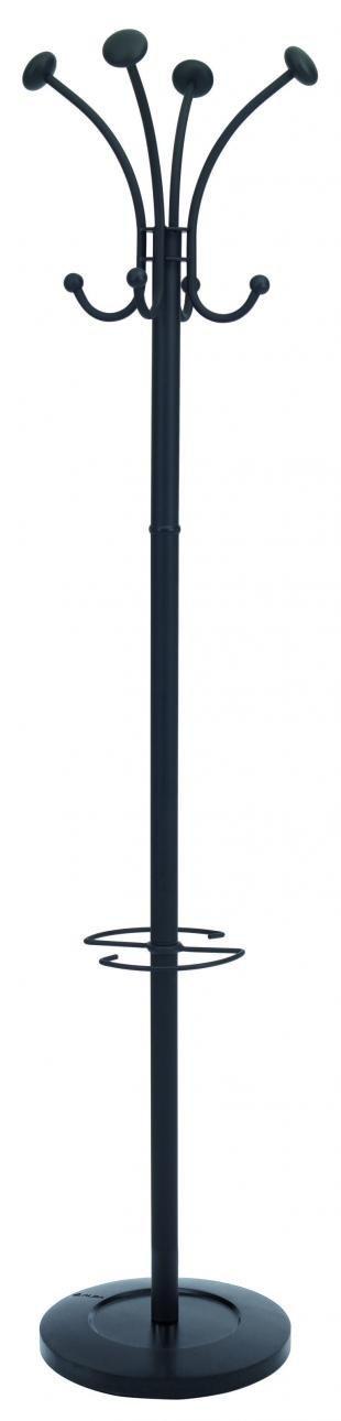 Alba Classic Floor Coat Rack Stand with 4-Double Pegs, Black