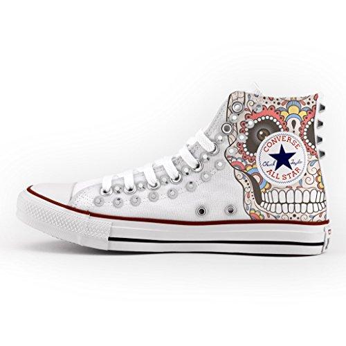 Converse All Star Personalizzate borchiate argento - scarpe artigianali - new mexican skull Falsa Precio Barato Liquidación Genuina Navegar Venta Nuevos Estilos De Venta En Línea SUolSh8N