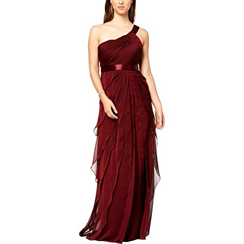 Adrianna Papell Womens Chiffon Special Occasion Evening Dress Red 14