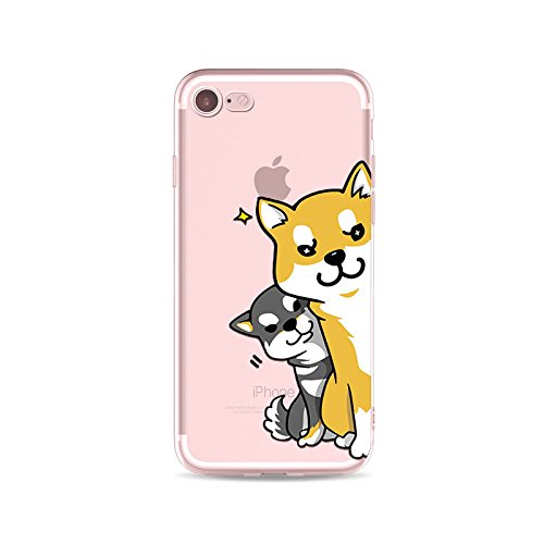 iPhone 7, Happy Puppy Dog Shiba Inu Series Colorful Rubber Flexible Silicone Case Bumper for Apple Clear Cover - Naughty Dog Spy