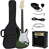 Best Choice Products 39in Full Size Beginner Electric Guitar Starter Kit w/ Case, Strap, 10W Amp, Tremolo Bar - Green