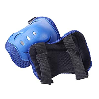 WOLFBUSH Kids Protective Gear, 7Pcs Skates Protective Gear Set Elbow Wrist Knee Pads and Helmet for Roller Skating, Skateboard, BMX, Scooter, Cycling Suitable for 5-11 Year-Old Children (Dark Blue) : Sports & Outdoors