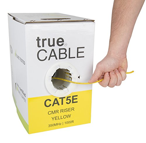 Cat5e Riser (CMR), 1000ft, Yellow, 24AWG 4 Pair Solid Bare Copper, 350MHz, ETL Listed, Unshielded Twisted Pair (UTP), Bulk Ethernet Cable, trueCABLE