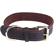 Taglory 18-26 Genuine Leather Dog Collars/Military Grade Dog Training Collar for Small Medium Large Dogs/Soft and Durable Real Leather/Brown