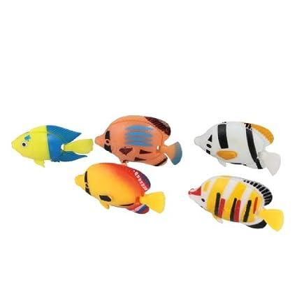 eDealMax DE 5 piezas acuario de peces de cola plástica flotante adornos, Colores surtidos