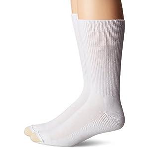Gold Toe Men's Non Binding Super Soft Crew 2 Pack Md, White, Sock Size: 10-13/Shoe Size:9-11