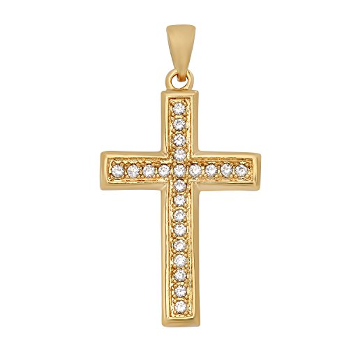 The Bling Factory Gold Plated Cross Pendant w/Round Brilliant Cut CZs + Microfiber Jewelry Polishing Cloth ()