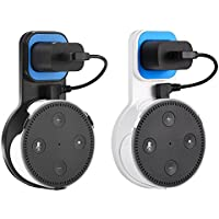 Aikerui Wall Mount Hanger Holder for Amazon Echo Dot 2nd Generation space saving dot ancessories with short charge cable no Messy Wires or Screws for kitchen bathroom bedroom living room-2 pack