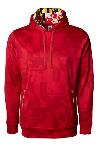 Maryland Flag Souvenir Gift Hoody with Front Kangaroo Pockets and Hidden Media Player Pocket Red
