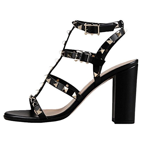 (Comfity Sandals for Women,Rivets Studded Strappy Block Heels Slingback Gladiator Shoes Cut Out Dress Sandals Black Leather 9cm Size 6.5)
