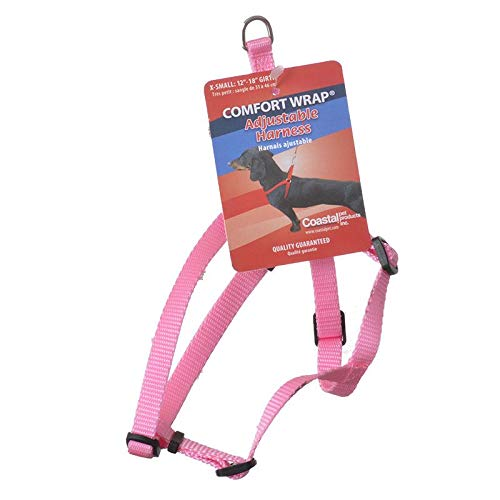 Tuff Collar Comfort Wrap Nylon Adjustable Harness - Bright Pink X-Small (Girth Size 12-18) (24 - Tuff Wrap Small Comfort