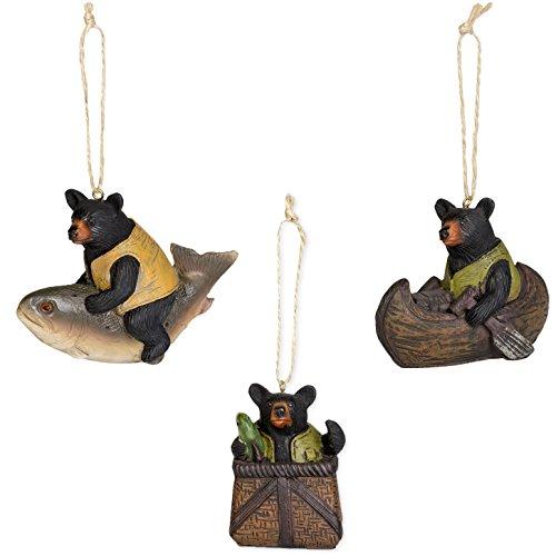 3 Pc Set Resin Black Bears Ornaments Canoe Fish Fishing