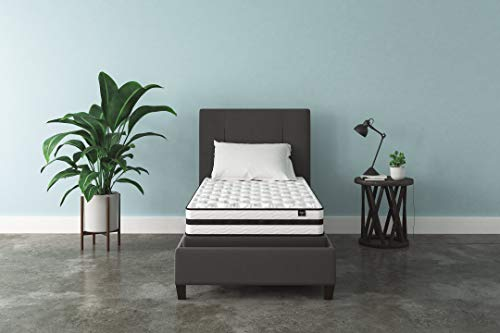 Ashley Single Bed - Ashley Furniture Signature Design - 8 Inch Chime Express Hybrid Innerspring - Firm Mattress - Bed in a Box - Twin - White