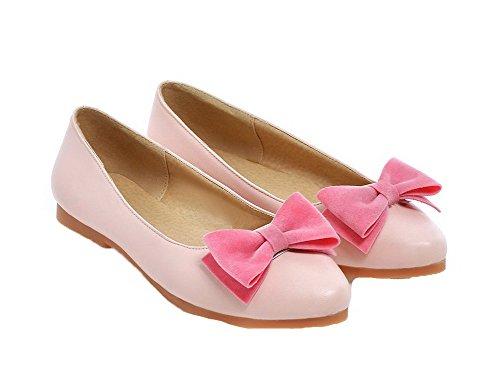 Allhqfashion Womens Pull-on Tacco Basso Pompe-scarpe Tinta Unita Rosa