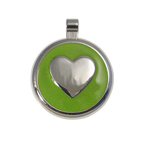 LuckyPet Heart Jewelry Pet ID Tag for Cats and Dogs, Personalized Engraving on The Back Side, Large Lime Heart]()