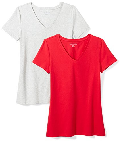 Quality Women Red T-shirt - Amazon Essentials Women's 2-Pack Short-Sleeve V-Neck Solid T-Shirt, Red/Light Grey Heather, X-Small