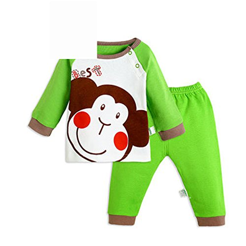 ODFAPP Adorable Cotton Original Baby Boy Girl Clothes Set China Casual Autumn Spring Discount Baby Clothing Suit Cute Monkey Newborn Shirt Pants tz1508 green3T Cool