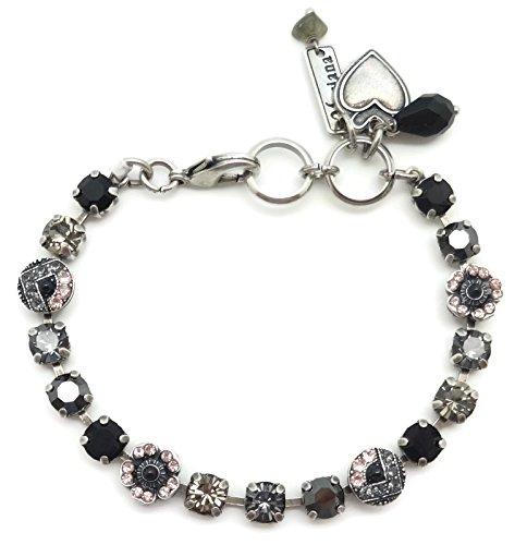 Mariana Swarovski Crystal Silver Plated Bracelet Petite Pink Grey Black Mosaic 1073 Black Velvet by Mariana