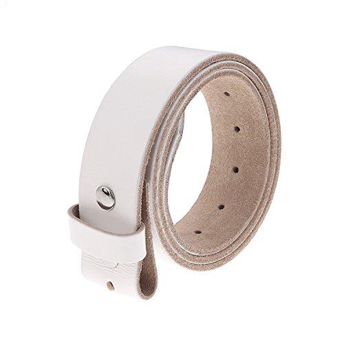 Belt White Genuine (Gelante Genuine Full Grain Leather Belt Strap without Belt Buckle G2016-White-XL)