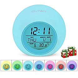 OUTWIT Kids Alarm Clock【2020 Version】, Wake Up Digital Clock for Boys Girls, 7 Colors Changing Light Bedside Clock for Children's Bedroom, with Indoor Temperature Touch Control Snoozing Christmas Gift