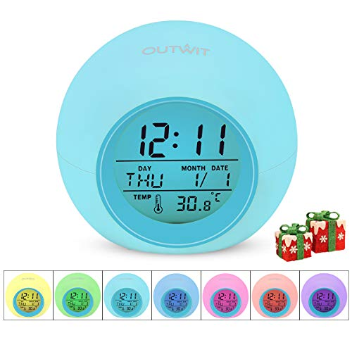 OUTWIT Kids Alarm Clock2020 Version, Wake Up Digital Clock for Boys Girls, 7 Colors Changing Light Bedside Clock for Children's Bedroom, with Indoor Temperature Touch Control Snoozing Christmas Gift