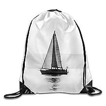 Skkoka Men&Women Sailing Boats With A Beautiful Sunset At The Sea Durable Walk Drawstring Backpack,Drawstring Backpack,Backpack,Drawstring Pocket Canvas,Bag Organizer,Travel Bag