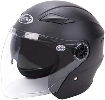 NJ ヘルメット- 電気オートバイのヘルメットの男性と女性の半分のヘルメットの男性と女性のUV保護ヘルメット (Color : Matte black, Size : 30.2x24.6cm)