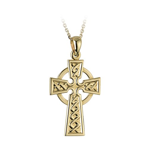 14K Yellow Gold Celtic Cross Necklace Large Embossed Irish Made