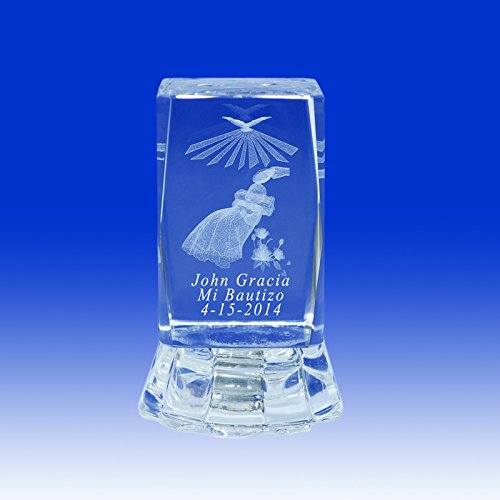 Baptism & Christening Favor Ideas 3D Baby Angel Crystal Glass Cube with Personalized Custom Laser Etched Engraving Recuerdo de Bautizo Con Imagen Ropon 2.5