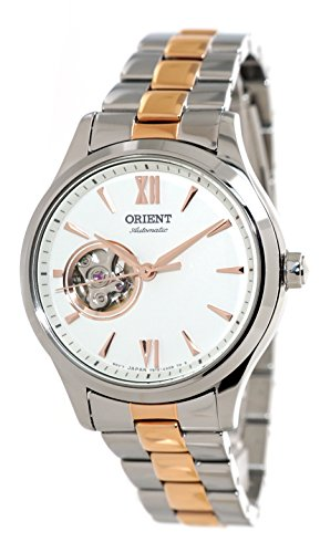 Orient Ladies Automatic Open Heart 2 Tone Rose Gold Steel Watch RA-AG0020S