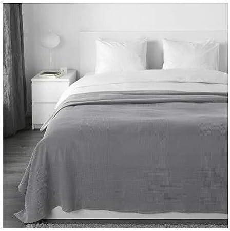 INDIRA IKEA - Colcha (100% algodón, 230 x 250 cm), color gris: Amazon.es: Hogar