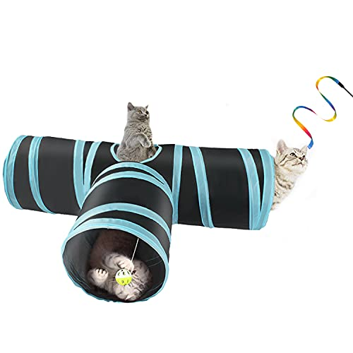 BrokSilent Cat Tunnels for Indoor Cats Toys, 3 Way Pop up Kitty Tunnels, with Kitten Cat Charmer Pet Rabbit Tunnel (Blue)