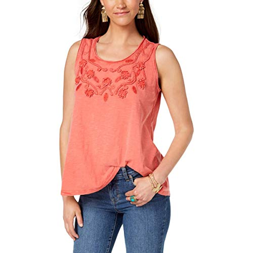 (Style & Co. Womens Plus Braided Swing Tank Top Pink 2X)