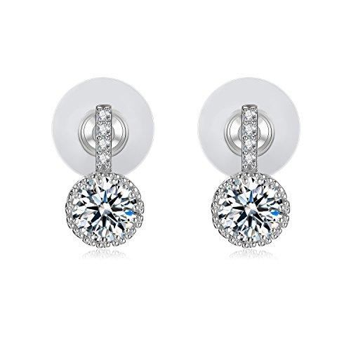 Cubic Zirconia Stud Earrings 18k White Gold-Plated Earrings Gifts for Women - VIKI LYNN
