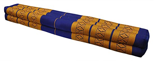 Thai cushion bolster, pillow, sofa, imported from Thaïland, blue/yellow, relaxation, beach, pool, meditation garden (82111) by Wilai GmbH