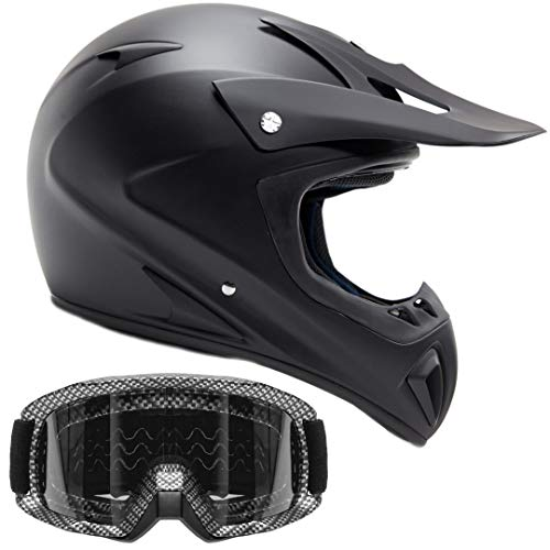 Typhoon ATV Helmet & Goggles Gear Combo, Black w/Carbon Fiber (Small)