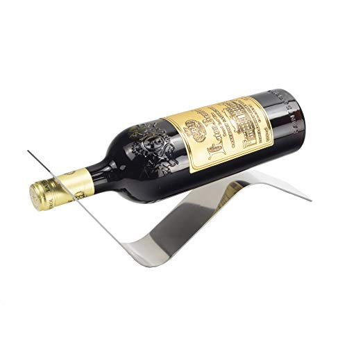 Y-Nut Stainless Steel Wine Bottle Holder, Decorative Single Bottle Stand Serving Display Wine Rack, Stylish Wine Bottle Organizer Great for Wine Lovers, - Rack Bottle Wine Single