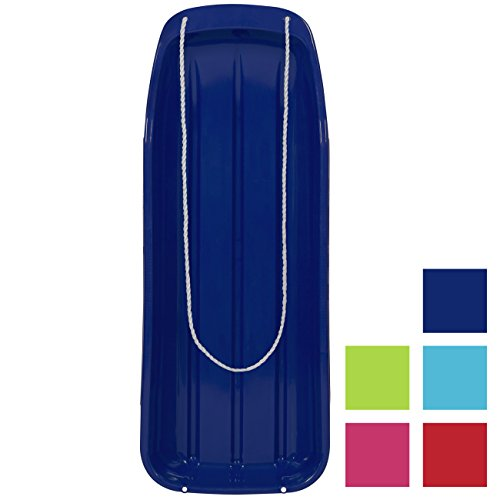 Best Choice Products 48in Kids Outdoor Plastic Sport Toboggan Winter Snow Sled Board Toy w/Pull Rope - Blue