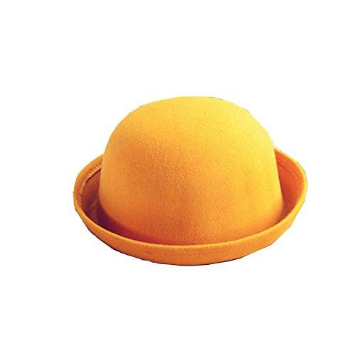 - Vintage Unisex Trendy Cute Ladies Women Wool Felt Cloche Derby Bowler Hat Cap (Yellow, 22